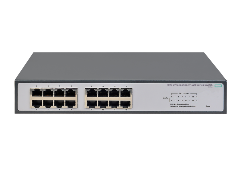 Коммутатор 16TP HP 1420-16G Switch (Unmanaged, 16*10/100/1000, QoS, fanless, 19) (JH016A)