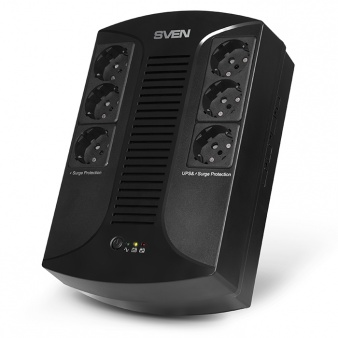 Источник БП SVEN UP-L1000E line-interactive, AVR, 1000VA, 510W, 6*CEE7/4 (3 eurosockets with backup power, 3 eurosockets with surge protection) , LED-indication, black.