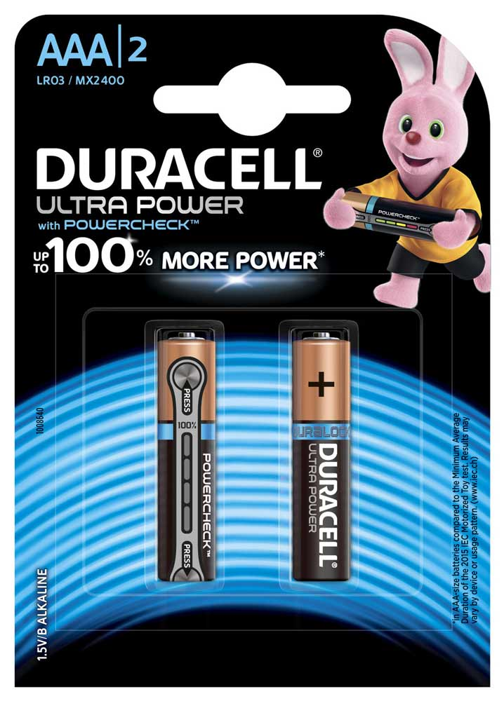 Элемент питания AAA DURACELL MN2400 LR03 2BL Ultra Power  2шт