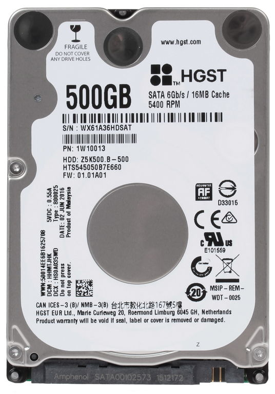 "Жесткий диск 2,5"" SATA-III 500Gb HGST Mobile HDD 2.5"" SATA 500Gb, 5400rpm, 16MB buffer, 7mm (HTS545050B7E660 Hitachi Travelstar Z5K500.B)"