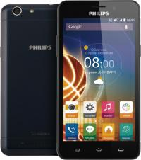 "Смартфон Philips V526 Xenium 8Gb темно-синий моноблок 3G 4G 2Sim 5"" 720x1280 And5.1 13Mpix WiFi BT G"