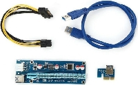 Переходник RISER CARD RC-006C FOXLINE 6PIN PCI-E x16 Riser board, w/PCI-E x1 Adapter, w/USB3.0Cable, w/15PIN SATA to 6PIN PCI-E Connector cable