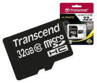 Карта памяти Micro-SD 32Gb Class 10, Transcend TS32GUSD300S-A + adapter