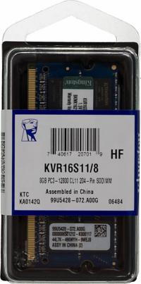 Память SO-DIMM DDRIII 8Gb 1600MHz Kingston (KVR16S11/8) RTL Non-ECC